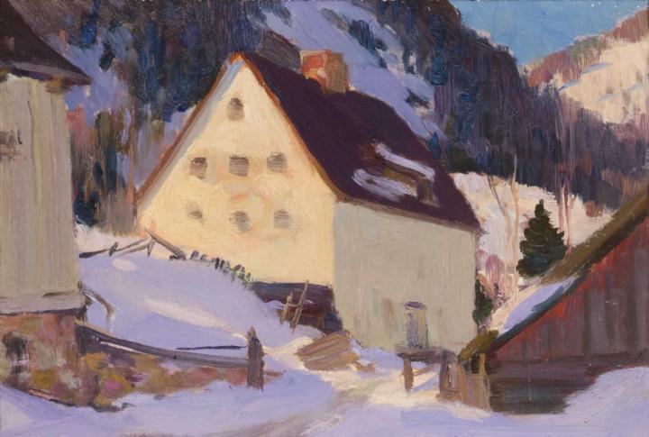 Clarence A. Gagnon Moulin de la Renne, Vallée de Baie St. Paul, 1922 (circa) Oil on panel 4 3/4 x 7 1/4 in 12.1 x 18.4 cm