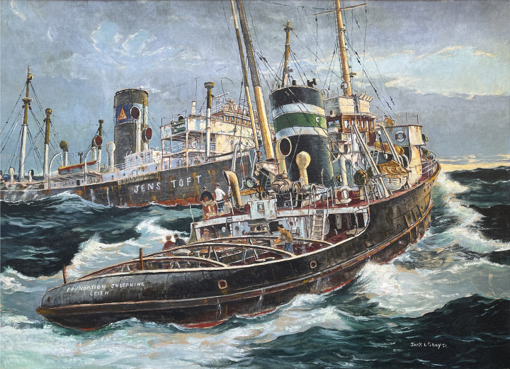 Jack Gray Salvage Vessel Foundation Josephine, 1951 Oil on canvas 22 x 30 in 55.9 x 76.2 cm