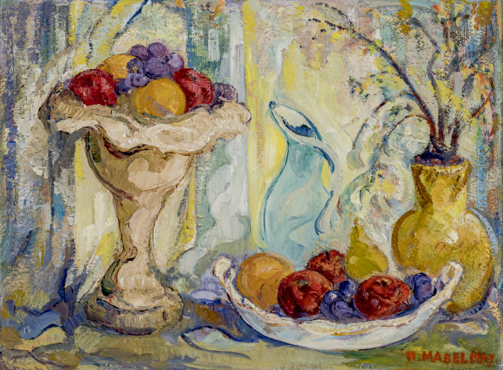 H. Mabel May Still Life with Fruit Oil on board 17 x 23 in 43.2 x 58.4 cm