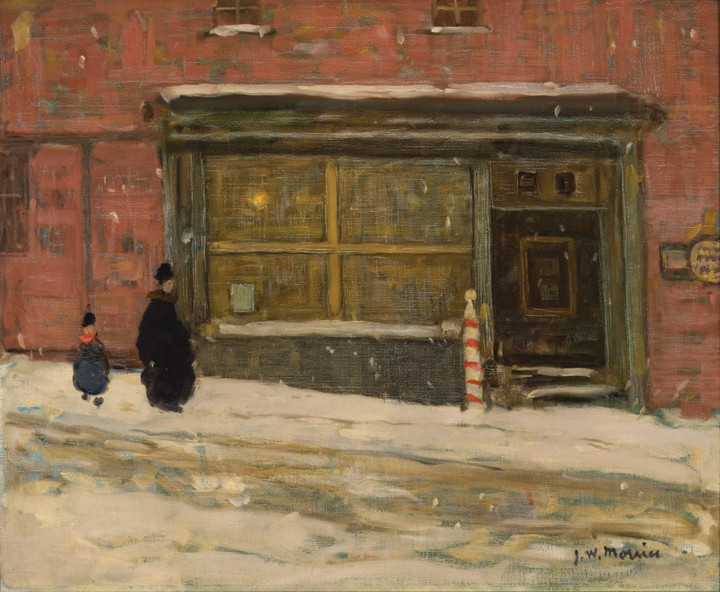 James Wilson Morrice The Barber Shop, Montreal (Effet de neiges, boutique), 1906 Oil on canvas 20 x 24 in 50.8 x 61 cm This work will be included in the James Wilson Morrice catalogue raisonné being compiled by Lucie Dorais.