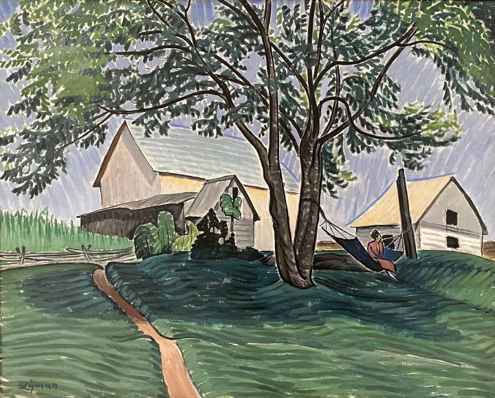 John Lyman The Hammock Under the Tree (Dalesville, Quebec), 1912 Oil on canvas 24 x 30 in 61 x 76.2 cm