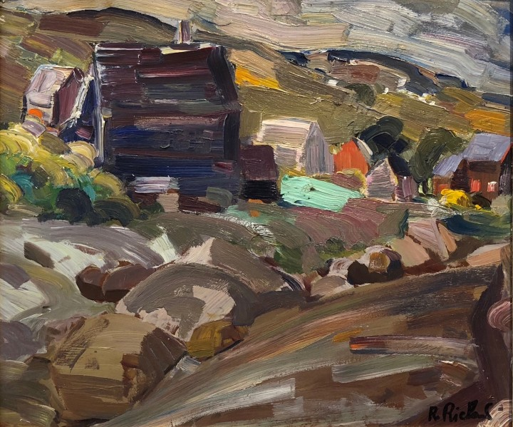 René Richard Paysage (Baie Saint-Paul), 1955 Oil on board - Huile sur panneau 12 x 14 in 30.5 x 35.6 cm
