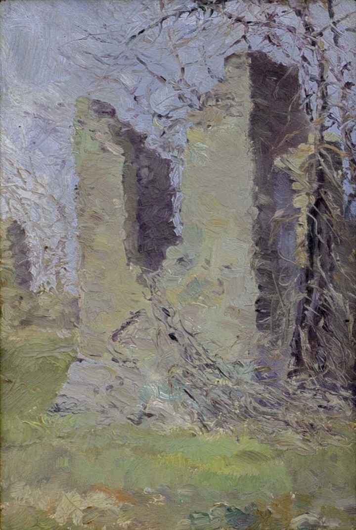 Paul Caron Fort Senneville, Que, 1913 Oil on panel - Huile sur panneau 7 x 4 3/4 in 17.8 x 12.1 cm