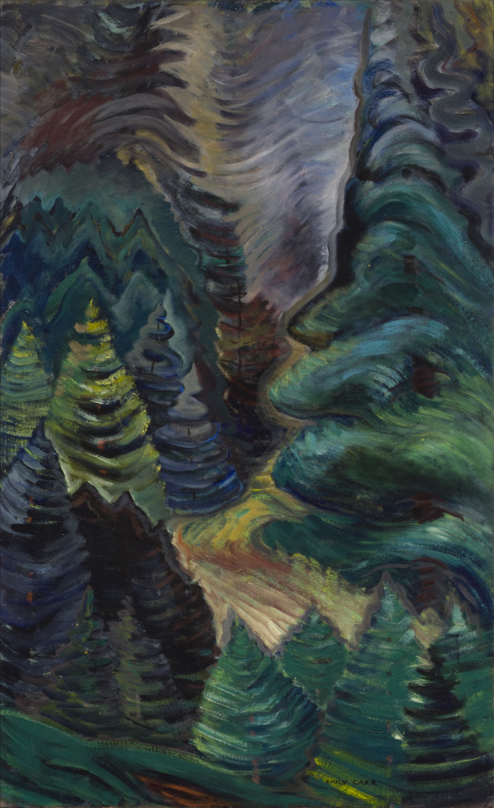 Emily Carr Forest Trees, 1937-1939 (circa) Oil on canvas 40 x 24 3/4 in 101.6 x 62.9 cm
