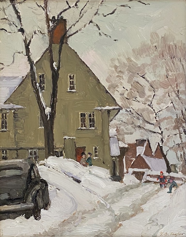 Frederick B. Taylor Looking Southwest at that end of Trafalgar Ave., Montreal, 1950 (December 17) Oil on panel 10 3/8 x 8 3/8 in 26.4 x 21.3 cm