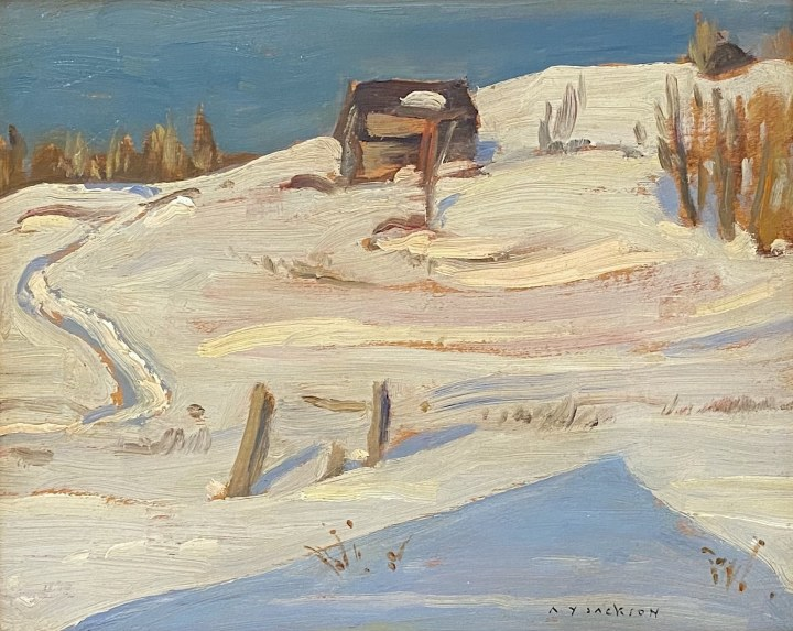 A.Y. Jackson Winter Haliburton, 1949 (January) Oil on panel 8 1/2 x 10 1/2 in 21.6 x 26.7 cm