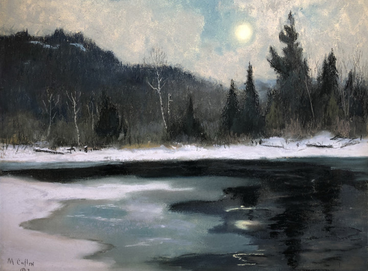 Maurice Cullen Early Spring on Caché River, 1925 (circa) Pastel - Pastel 17 1/2 x 23 1/2 in 44.5 x 59.7 cm Alan Klinkhoff Gallery Maurice Cullen Inventory No. AK01143