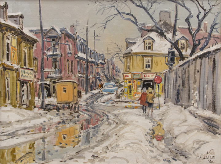 John Little Une Journée de Mars, Rue Beaudry au coin de Rue Lagauchetiere, 1960 Oil on canvas 20 x 26 in 50.8 x 66 cm