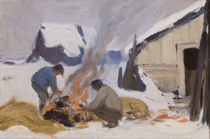 Clarence A. Gagnon Jour de boucherie, Baie St. Paul, circa 1923 Oil on panel 5 x 7 in 12.7 x 17.8 cm