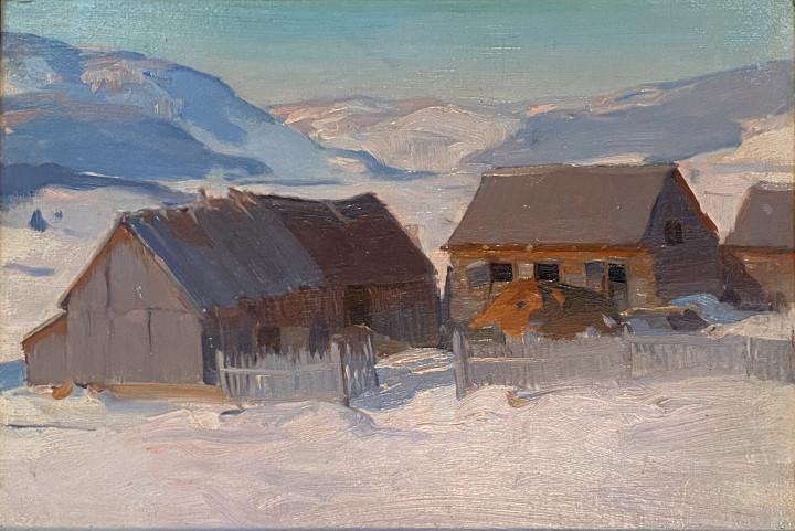 Clarence A. Gagnon Dans la vallée du Gouffre (Baie St. Paul), 1922 (circa) Oil on panel - Huile sur panneau 6 1/2 x 9 1/4 in 16.5 x 23.5 cm