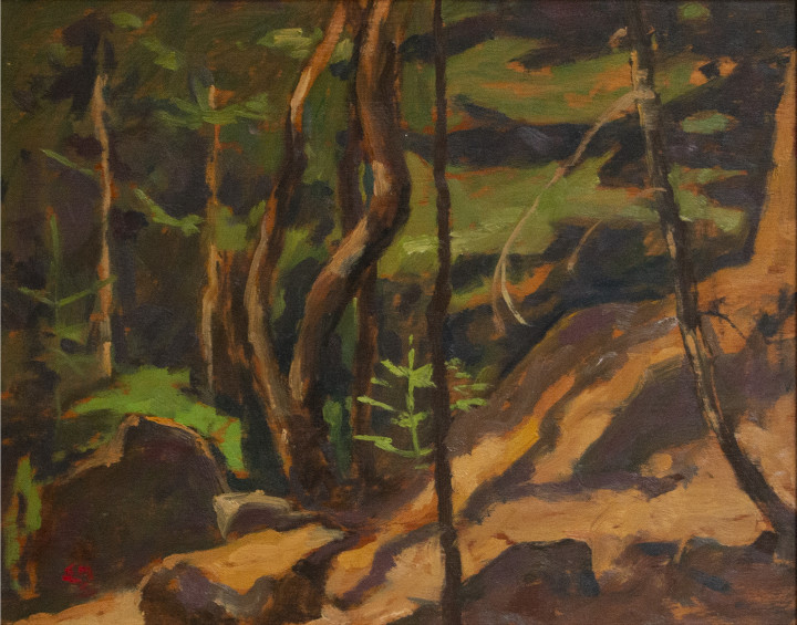 Edwin Holgate Thicket, Laurentians Oil on panel 8 1/2 x 10 1/2 in 21.6 x 26.7 cm