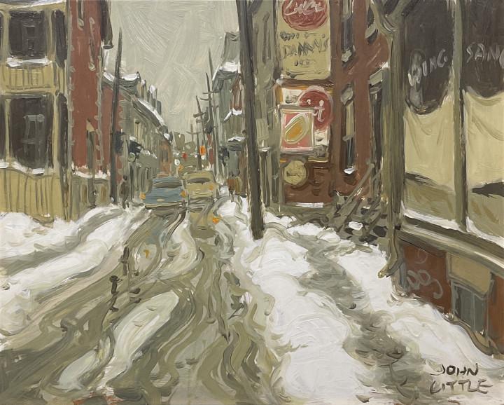 John Little Rue la Gauchetière at Rue d'Hôtel de Ville, Montréal, 1963 (circa) Oil on panel 8 x 10 in 20.3 x 25.4 cm