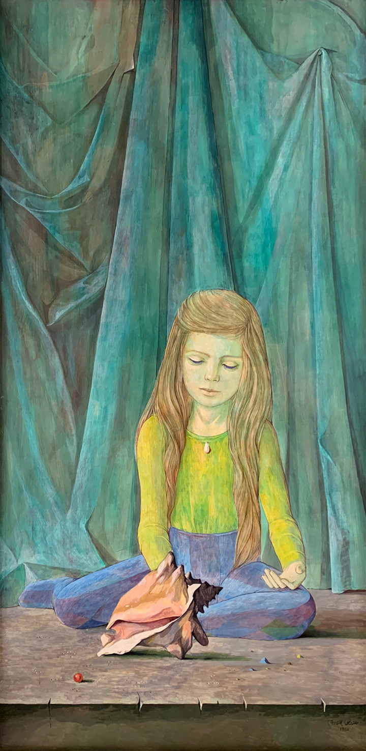 Fred Ross Girl with Seashell, 1962 Tempera on masonite - Tempéra sur isorel 48 x 24 in 121.9 x 61 cm