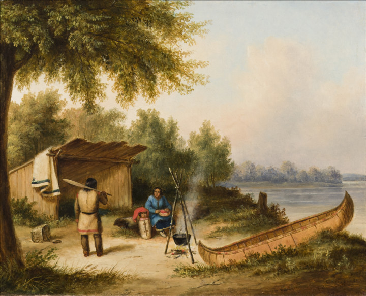Cornelius Krieghoff Indian Camp, Caughnawaga Family, 1849 Oil on canvas 12 x 15 in 30.5 x 38.1 cm