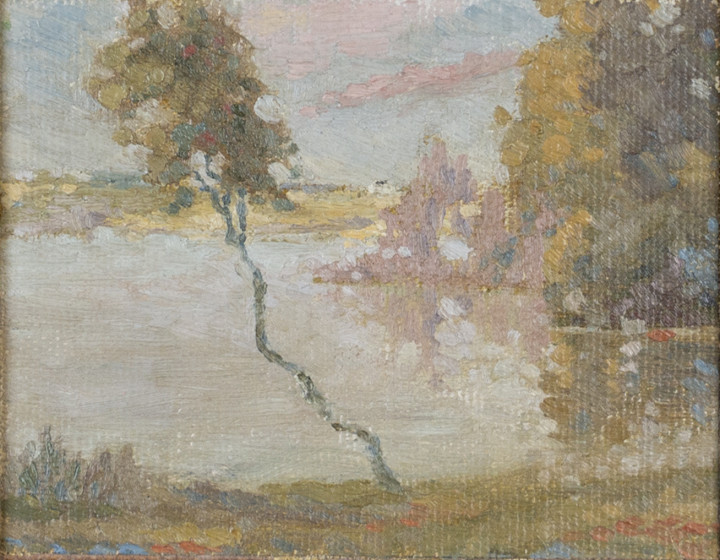Lionel LeMoine FitzGerald Manitoba Scene Oil on canvas board 4 1/2 x 5 1/2 in 11.4 x 14 cm