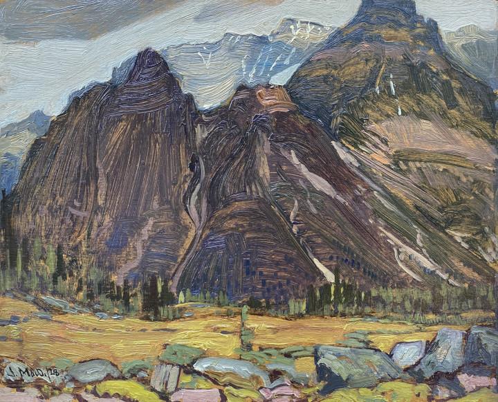 J.E.H. MacDonald Wiwaxy Peaks, Lake O'Hara Camp, 1928 (September) Oil on board 8 1/2 x 10 1/2 in 21.6 x 26.7 cm
