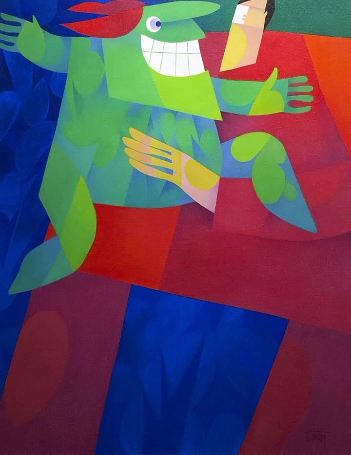 Claude Le Sauteur Le rigolo - The Jester, 1999 Oil on canvas - huile sur toile 36 x 24 in 91.4 x 61 cm