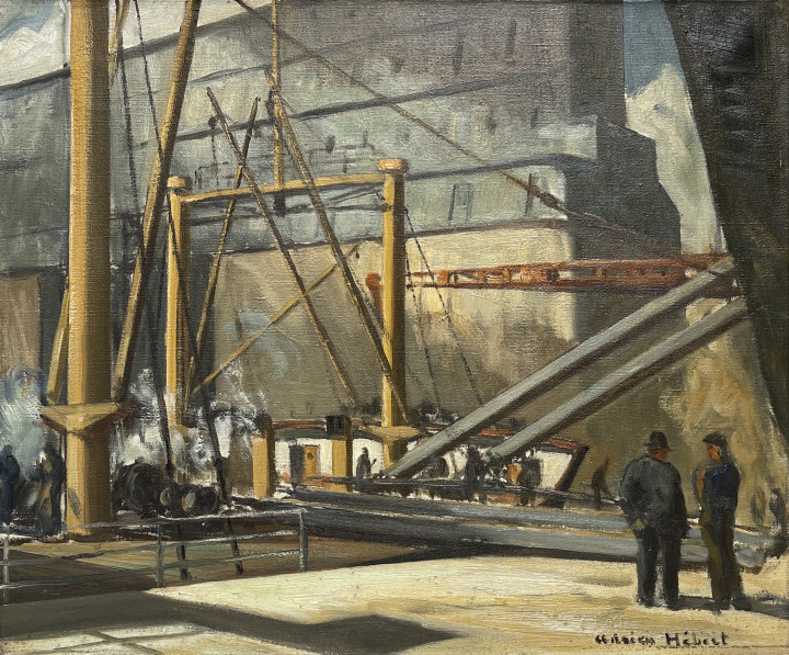 Adrien Hébert Montreal Harbour (Les débardeurs), 1926 Oil on canvas 20 x 24 in 50.8 x 61 cm