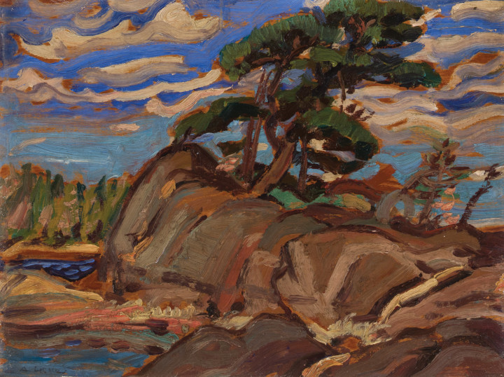 Arthur Lismer Georgian Bay, 1935 Oil on board 9 1/8 x 11 7/8 in 23.2 x 30.2 cm