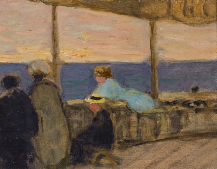 James Wilson Morrice On Shipboard, 1906-1907 (circa) Oil on wood panel 5 1/4 x 6 3/8 in 13.3 x 16.2 cm This work will be included in the James Wilson Morrice catalogue raisonné being compiled by Lucie Dorais.