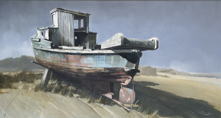 Geoffrey Rock Beached, 1974 Oil on panel 12 x 23 in 30.5 x 58.4 cm