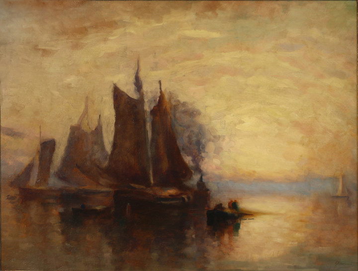 John A. Hammond Fishing Boats, Bay of Fundy Oil on board - Huile sur toile 28 1/4 x 36 1/2 in 71.8 x 92.7 cm