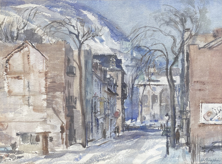 Henry J. Simpkins Victoria Street Looking Towards McGill University at Sherbrooke Street Watercolour 12 x 17 1/2 in 30.5 x 44.5 cm