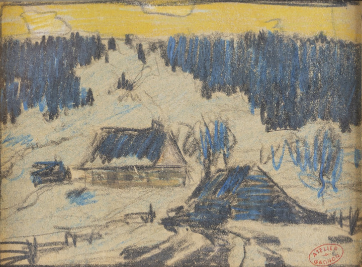 Clarence A. Gagnon 1881-1942Paysage en Hiver, Baie St. Paul stamped in red ink, 'Atelier / Gagnon' (lower right) Gouache 3 5/8 x 5 in 9.2 x 12.7 cm