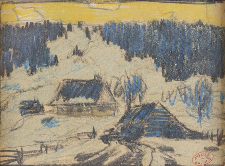 Clarence A. Gagnon Paysage en Hiver, Baie St. Paul Gouache 3 5/8 x 5 in 9.2 x 12.7 cm