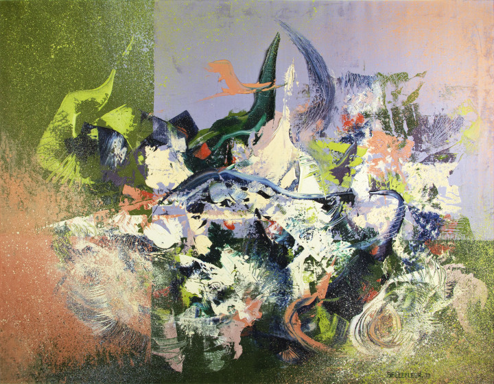 Léon Bellefleur Surf (Ressac), 1977 Oil on canvas - Huile sur toile 35 1/8 x 45 5/8 in 89 x 116 cm