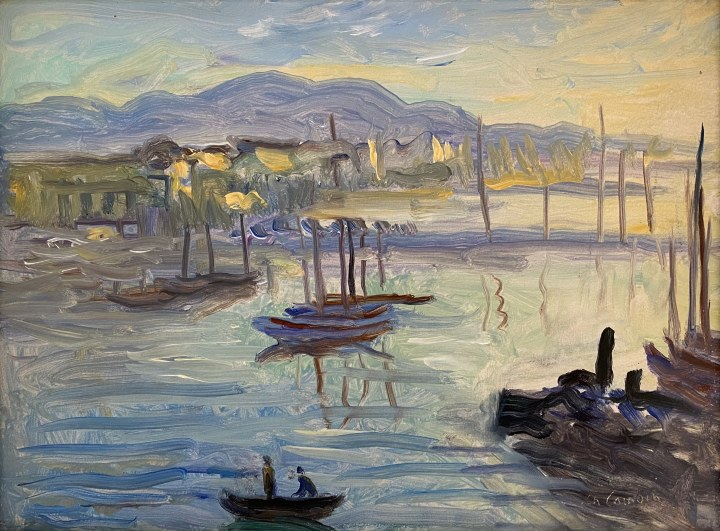 Charles Camoin Voiliers dans le port de Cannes, 1956 Oil on cardboard 9 1/2 x 13 in 24 x 33 cm