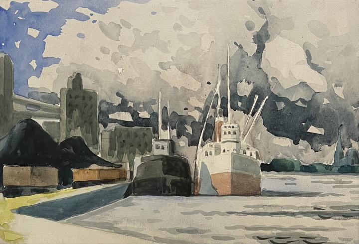 Marc-Aurèle Fortin Étude le Port , 1930 (circa) Watercolour 9 3/4 x 14 1/4 in 24.8 x 36.2 cm