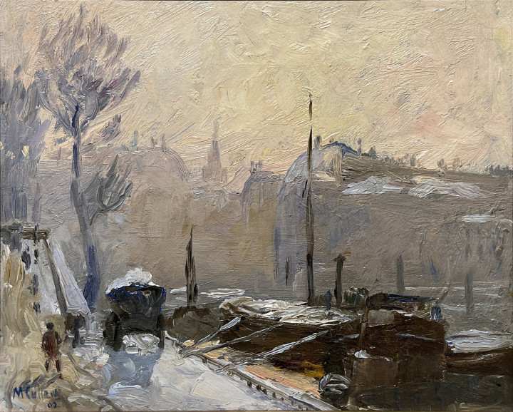 Maurice Cullen Winter, Paris, 1902 Oil on canvas - huile sur toile 8 5/8 x 10 5/8 in 22 x 27 cm Alan Klinkhoff Gallery Maurice Cullen Inventory # 160 Walter Klinkhoff Gallery Cullen Inventory # 0160