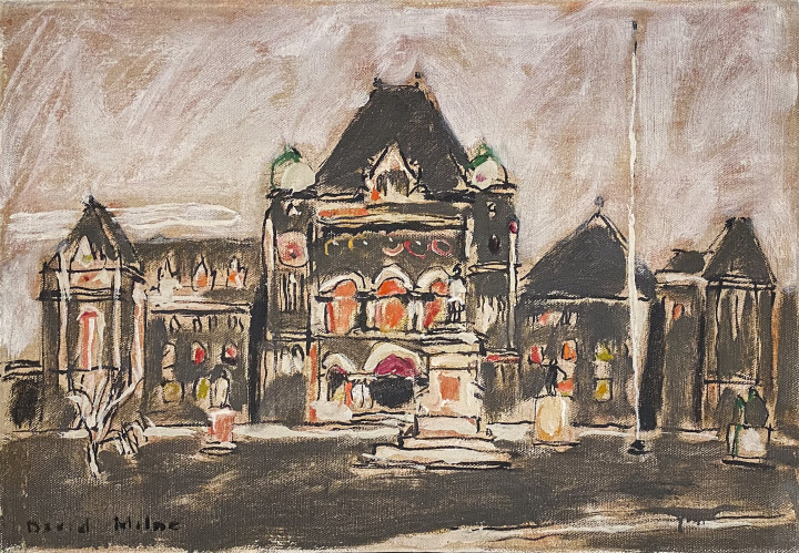 David Milne Parliament Buildings at Queen's Park, 1940 (January 30) Oil on canvas - Huile sur toile 18 x 26 in 45.7 x 66 cm This work is included in the David B. Milne Catalogue Raisonne of the Paintings compiled by David Milne Jr. and David P. Silcox, Vol. 2, no. 401.42
