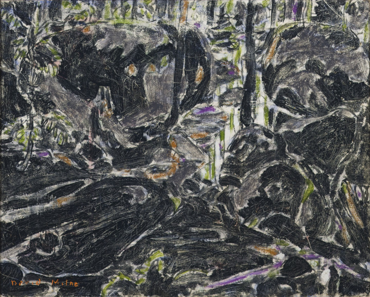 David Milne Stream in the Bush (Boulders in the Bush II) (Big Moose Lake, Adirondacks, New York), 1926 Oil on canvas 16 x 20 in 40.6 x 50.8 cm This work is included in the David B. Milne Catalogue Raisonne of the Paintings compiled by David Milne Jr. and David P. Silcox, Vol. 1, no. 207.78.