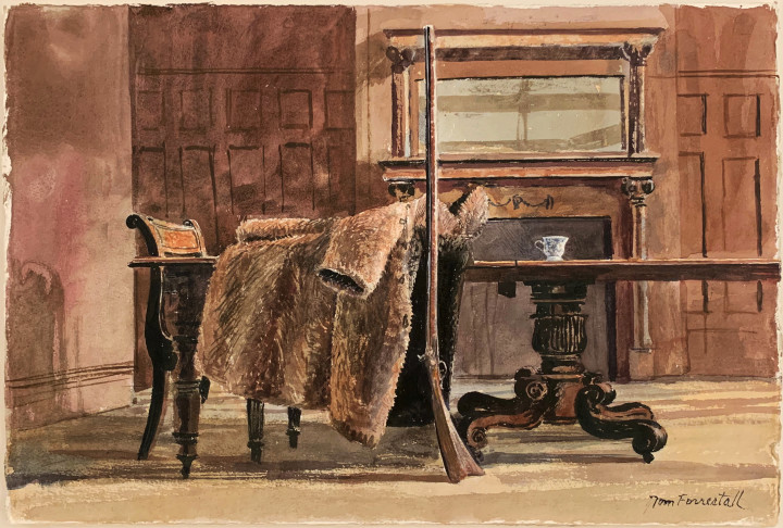 Tom Forrestall Untitled (Artist's Dining Table with Kentucky Rifle and Fur Coat) Watercolour on paper - Aquarelle 15 x 22 1/2 in 38.1 x 57.1 cm