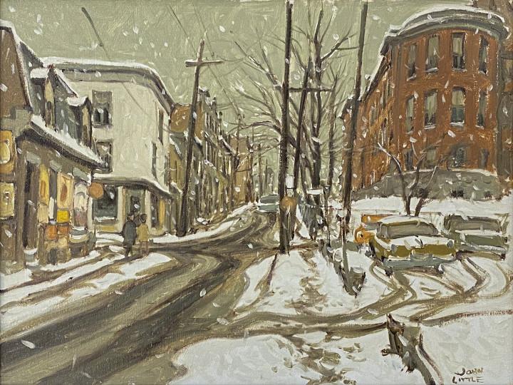 John Little Rue St. Dominique at la Gauchetière, Montreal, 1966 Oil on canvas board 12 x 16 in 30.5 x 40.6 cm