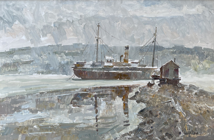 Bruce Le Dain The Kyle, Harbour Grace, Newfoundland, 1972 Oil on panel 20 x 30 in 50.8 x 76.2 cm