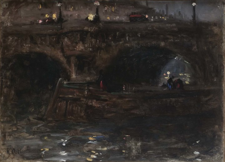 Harry Phelan Gibb Evening, Barge on the Seine Coasting under the Pont Neuf, Paris, 1907 Oil on board - Huile sur panneau 12 x 15 1/2 in 30.5 x 39.4 cm