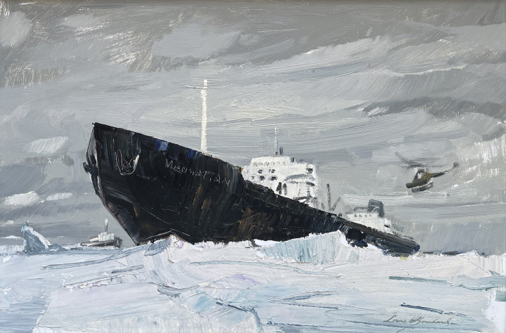 Lorne Bouchard The SS Manhattan & The Northwest Passage at Resolute Bay, 1969 (September 6th) Oil on panel 12 x 18 in 30.5 x 45.7 cm