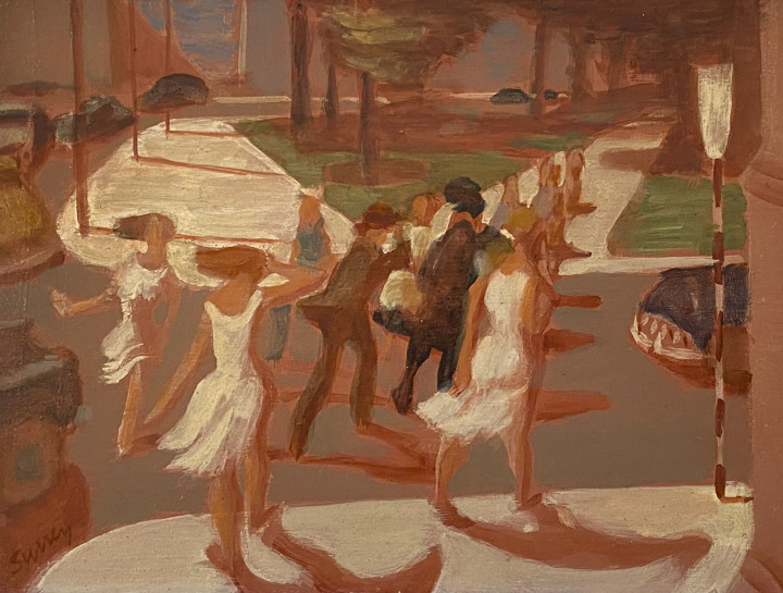 Philip Surrey Pedestrians, Crosswalk (Dominion Square, Montreal), 1953 (circa) Oil on wood board 6 x 7 3/4 in 15.2 x 19.7 cm