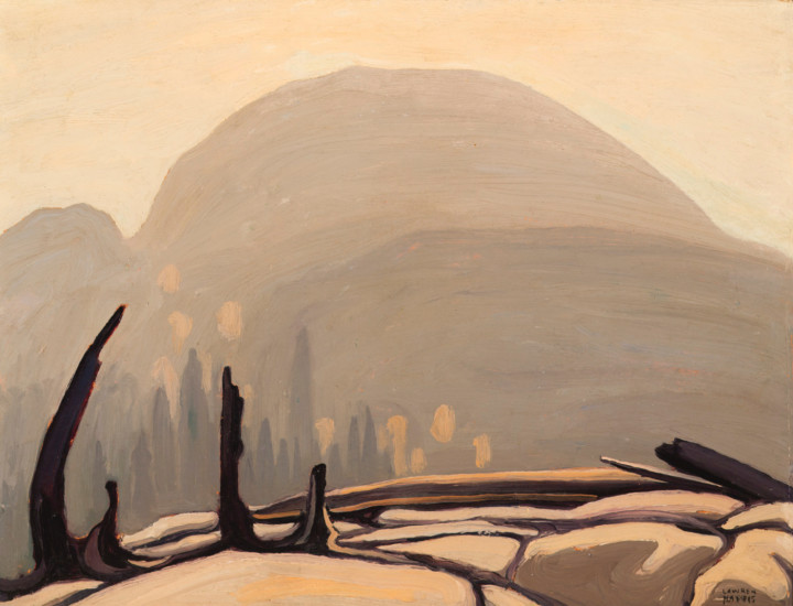 Lawren S. Harris Morning Sun Over Hill, Lake Superior (Lake Superior Sketch XXVII), 1922 Oil on Beaverboard 10 3/8 x 13 5/8 in 26.4 x 34.6 cm