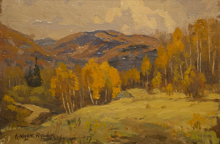 A. Wilkie Kilgour Sketch at Val Morin Oil on panel - huile sur panneau 4 7/8 x 6 7/8 in 12.4 x 17.5 cm