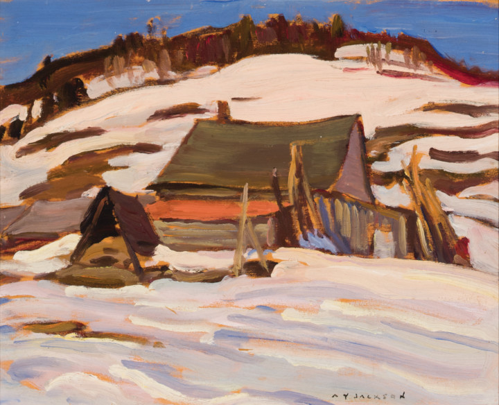 A.Y. Jackson Farm at Port Au Persil, 1947 Oil on panel 8 1/2 x 10 1/2 in 21.6 x 26.7 cm