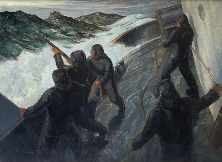 Harold Beament Rescue-Firing a Coston Gun Line, 1944 (circa) Oil on canvas 27 x 36 in 68.6 x 91.4 cm