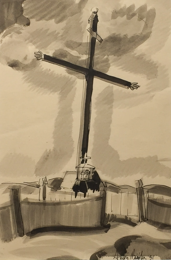 André Biéler Wayside Cross, 1931 Ink drawing - Dessin à l'encre 10 5/8 x 7 in 27 x 17.8 cm