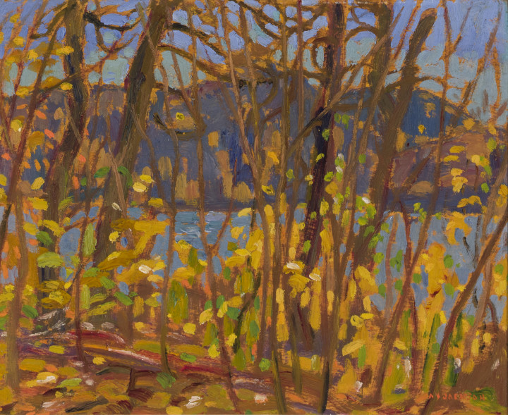 A.Y. Jackson Montreal River, Algoma, 1919 Oil on panel 8 1/2 x 10 1/2 in 21.6 x 26.7 cm