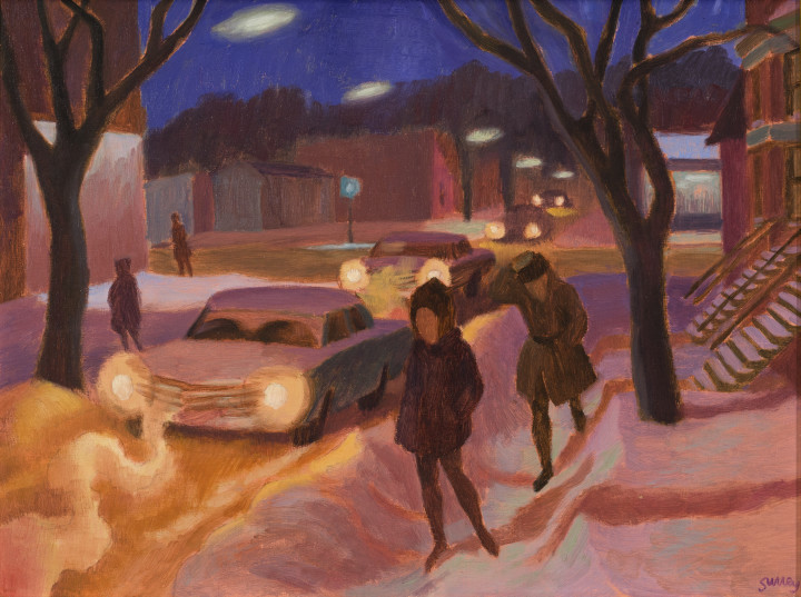 Philip Surrey Winter Night, 1965 (circa) Oil on masonite 12 x 16 in 30.5 x 40.6 cm