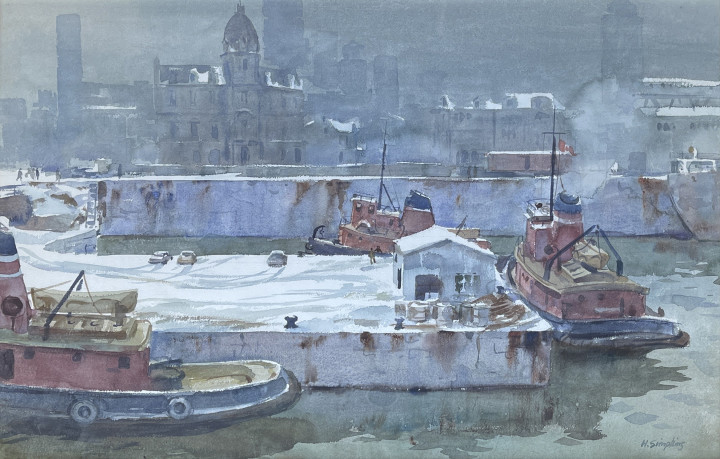Henry J. Simpkins Montreal Harbour Watercolour 21 1/2 x 30 in 53.3 x 76.2 cm