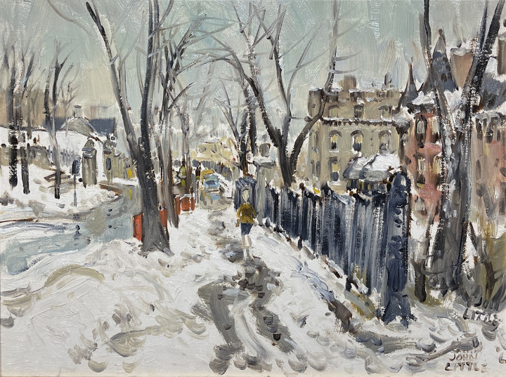 John Little Sketch, Pine Ave above Peel, Montreal, 1961 Oil on canvas board 12 x 16 in 30.5 x 40.6 cm
